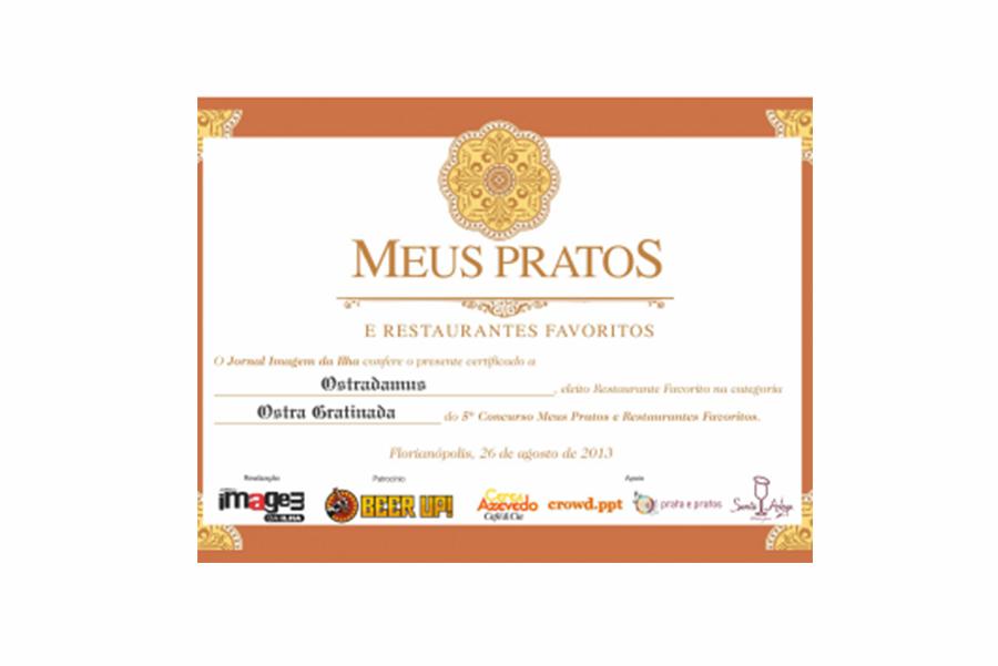 Prêmio Meus Pratos e Restaurantes Favoritos – Jornal Imagem da Ilha 2013