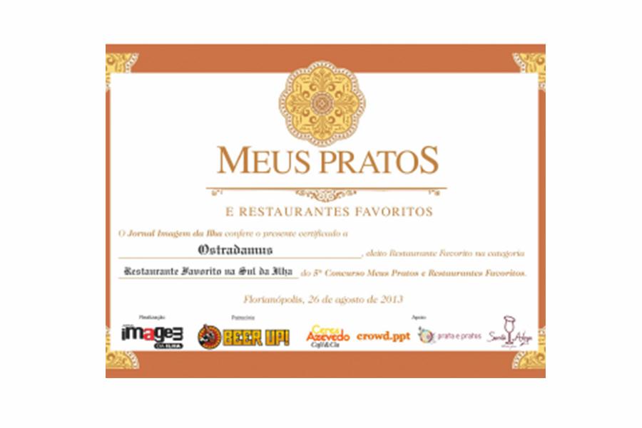 Prêmio Meus Pratos e Restaurantes Favoritos – 2013